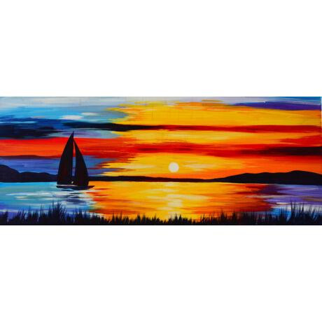 Alkony a vízen - 3 darabból álló összerakós festmény 3 fő részére